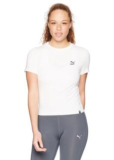 PUMA Women's Classic Logo Tight T-Shirt White M