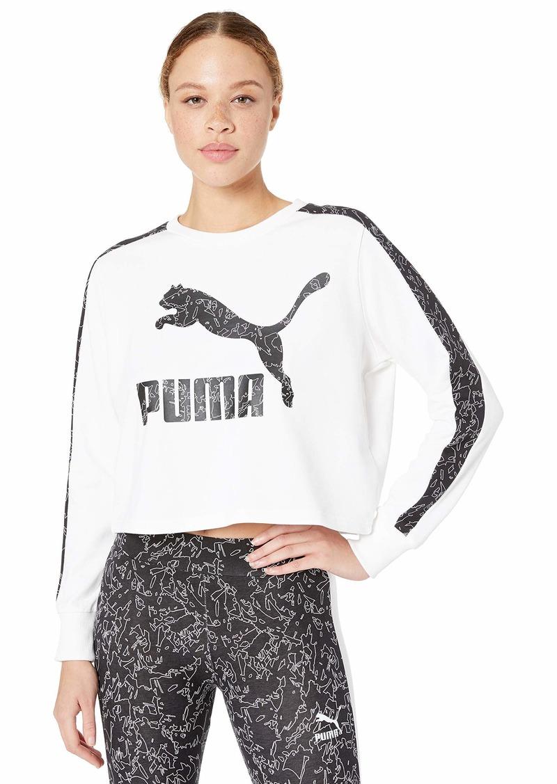 PUMA Women's Classics Logo Crew All Over Print White L