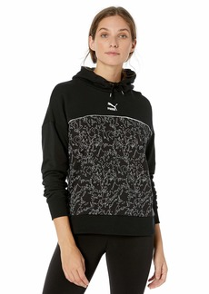 PUMA Women's Classics Logo Hoody All Over Print Black XL