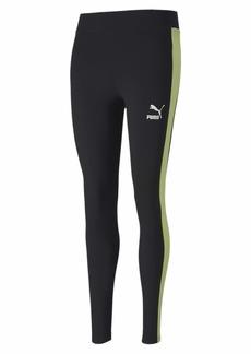 PUMA Women's Classics T7 Leggings Black-Sunny Lime M