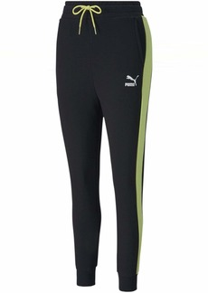 PUMA Women's Classics T7 Track Pants Puma Black-Sunny Lime XS