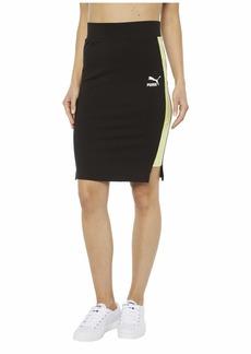PUMA Women's Classics Rib Skirt Black-Sunny Lime S