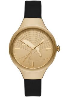 Puma Women's Contour Three-Hand Black Polyurethane Single Button Stud Watch 36mm