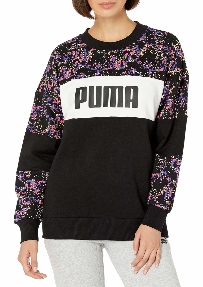 PUMA Women's Crew Black-Brand All Over Print S
