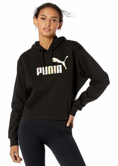 PUMA Women's Elevated Essential Logo Cropped Hoody Fleece Black L