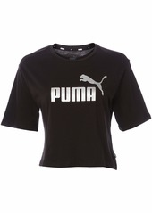 PUMA Women's Essentials+ Metallic Cropped T-Shirt Black-Silver L