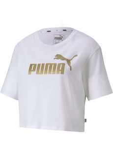 PUMA Women's ESS+ Metallic Cropped TEE White-Gold XS
