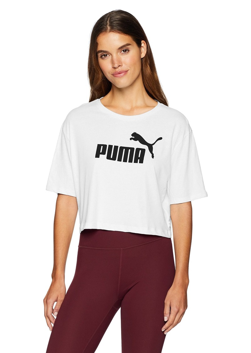PUMA Women's Essential + Cropped Logo TEE Shirt puma White XL