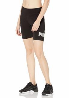 "PUMA Women's Essentials+ 7"" Tight Shorts Cotton Black-Silver-Metallic L"