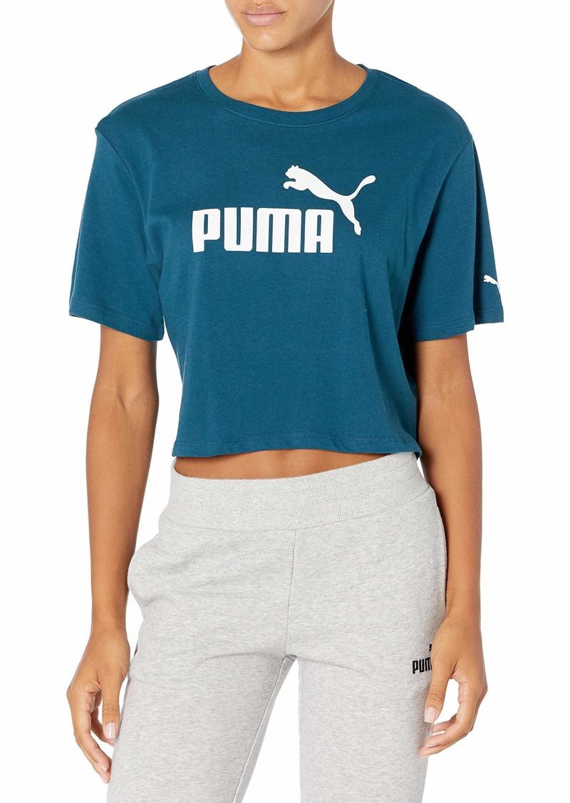 PUMA Women's Essentials+ Cropped Logo T-Shirt Digi-Blue XXL