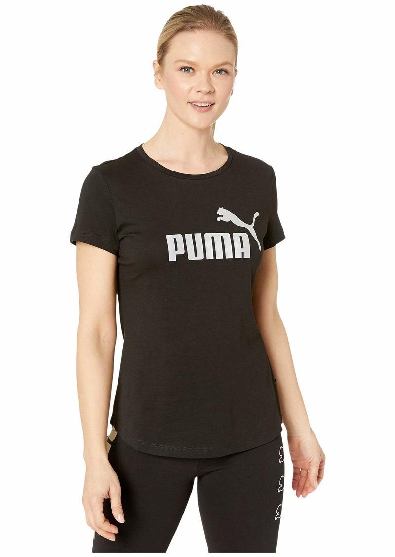 PUMA Women's Essentials+ Metallic T-Shirt Black-Silver XS