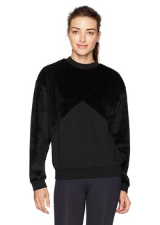 PUMA Women's Fabric Block Crew Neck Sweatshirt Black L