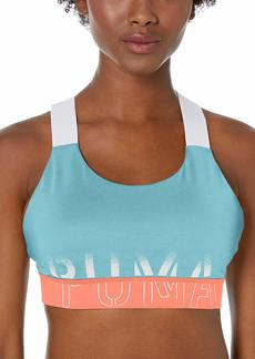 PUMA Women's Feel It Bra Bra Milky Blue-Pink Alert-puma Black XL