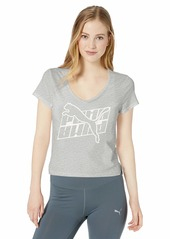 PUMA Women's Feel It T-Shirt Light Gray Heather White M