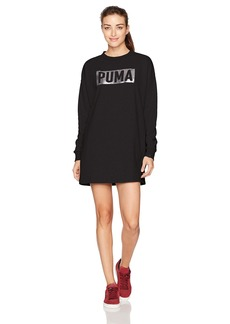 PUMA Women's Fusion Crewneck Sweatshirt Dress Cotton Black/foil L