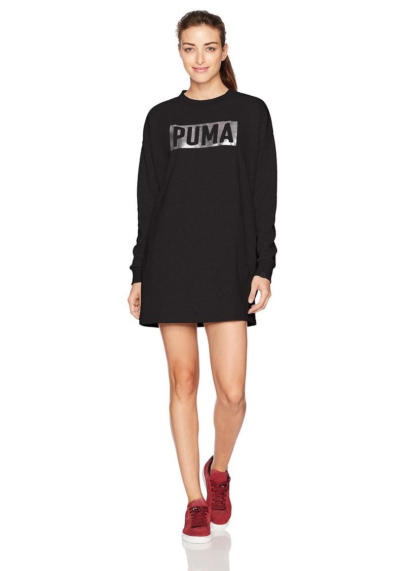 PUMA Women's Fusion Crewneck Sweatshirt Dress Cotton Black/foil L