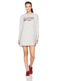 PUMA Women's Fusion Crewneck Sweatshirt Dress ight Gray Heather/Foil