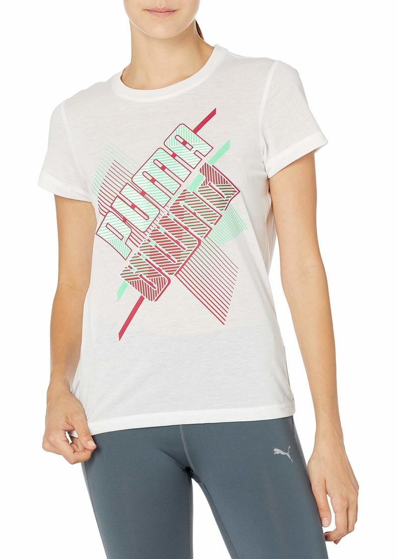 PUMA Women's Graphic Crew T-Shirt White-Q1 PRT M