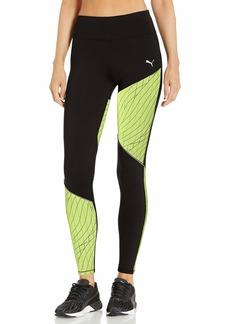 PUMA Women's Graphic Running Tights Black-Fizzy Yellow XS