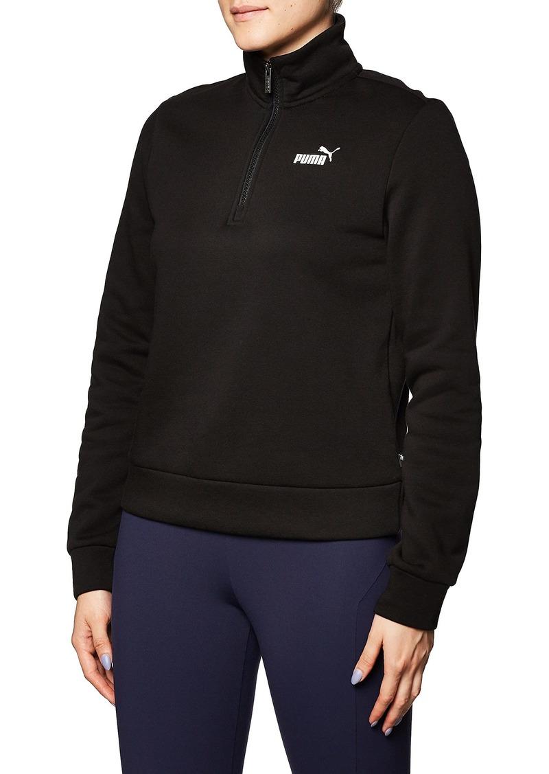 PUMA Women's Essentials+ Half-Zip Fleece Crew Neck Black XS