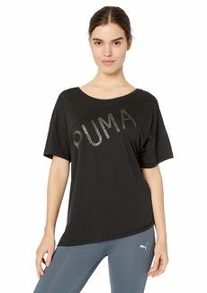 PUMA Women's Holiday Drapey Tee Black M