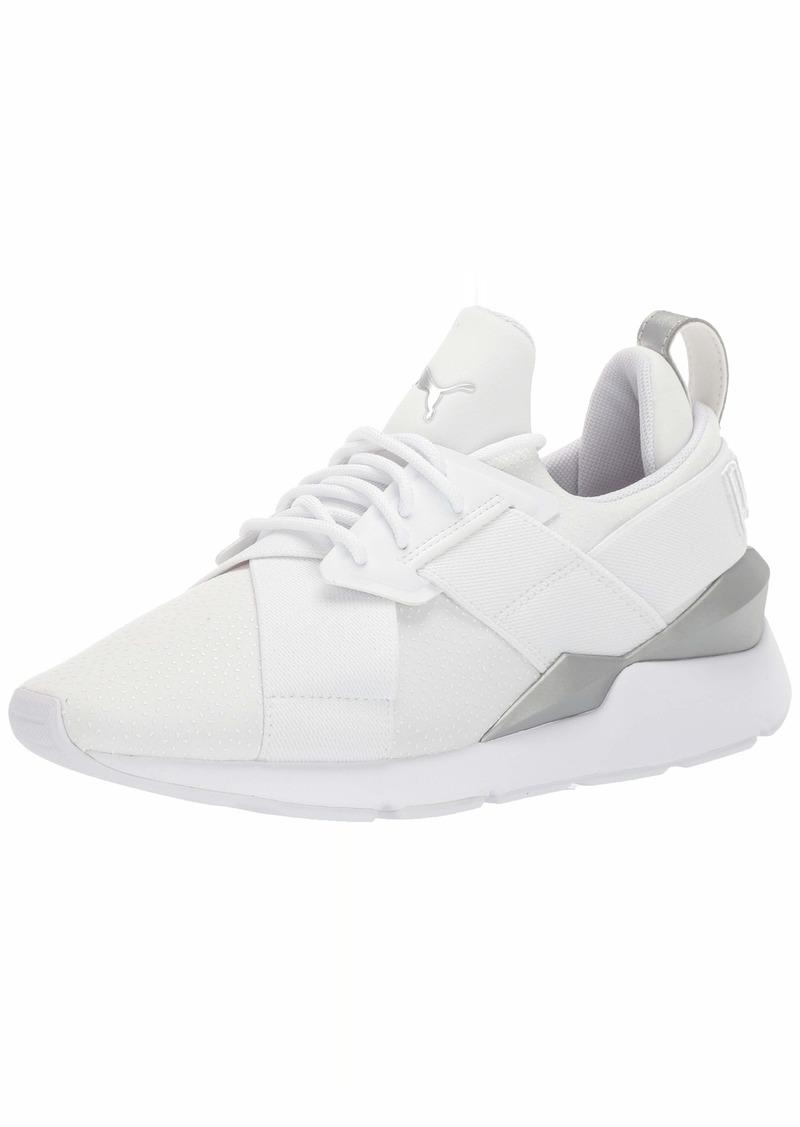 PUMA Women's Muse Sneaker White Silver  M US
