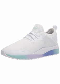 PUMA Women's Pacer Next Cage Sneaker White White-Blue Glow