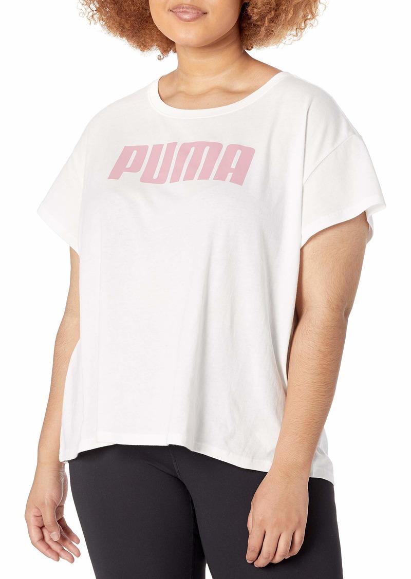 PUMA Women's Active T-Shirt White-Foxglove L