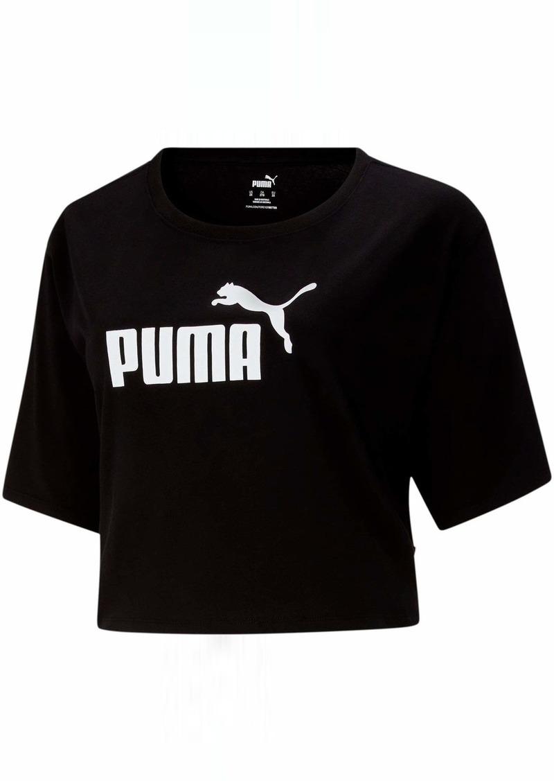 PUMA Women's Plus Size Essentials+ Cropped Logo Tee Black