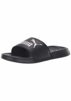 PUMA Women's Popcat Slide Sandal Black Silver  M US