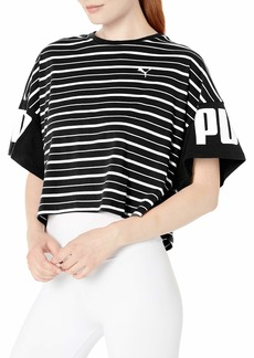 PUMA Women's Rebel Striped TEE Black M