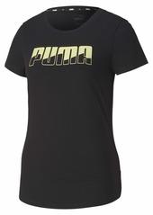 PUMA Women's Rebel T-Shirt Black-Sunny Lime S