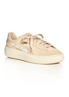 PUMA Women's Satin Stripe Platform Lace Up Sneakers
