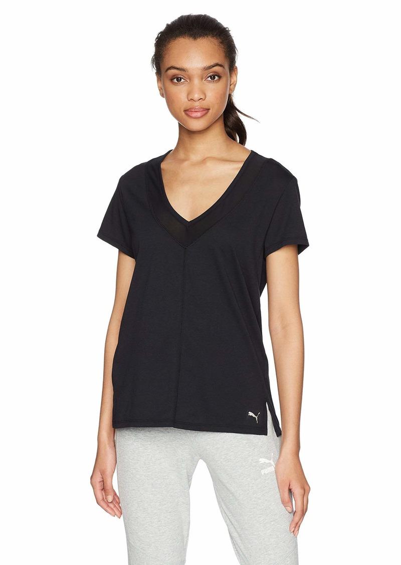 PUMA Women's Slouchy-v Mesh Tee Shirt puma Black/puma Black L