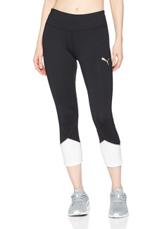 PUMA Women's Spark Logo 3/4 Tight Leggings Black White M