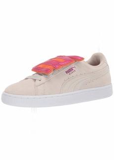 PUMA Women's Suede Badge Sneaker Silver Gray-Fuchsia Purple  M US