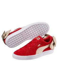 PUMA Women's Suede Bow Varsity Sneaker Ribbon red-Metallic Gold  M US