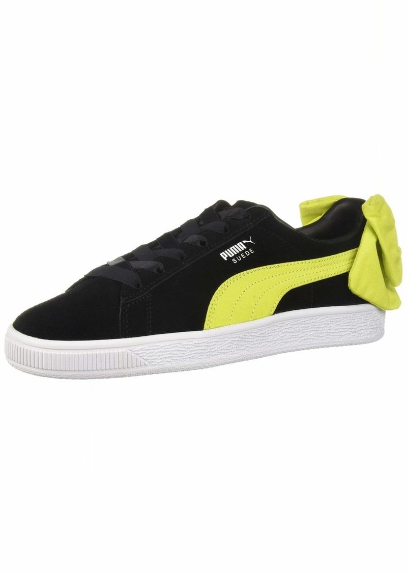PUMA Women's Suede Bow WN's Sneaker Black-Sulphur Spring  M US