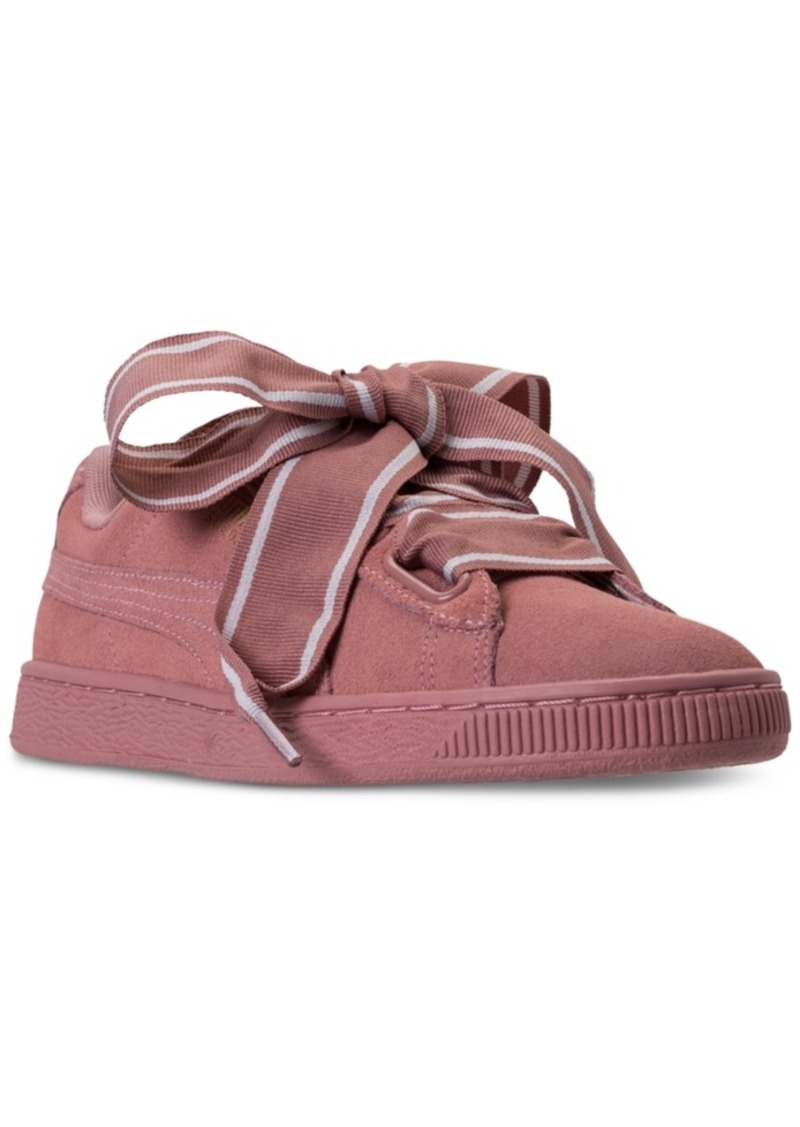 the latest 7ef07 0d2f4 Women's Suede Heart Satin Casual Sneakers from Finish Line