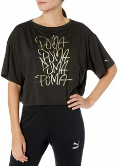 PUMA Women's Sweet Loose Crop TEE Black M