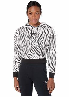 PUMA Women's Wild Pack Cropped All Over Print Hoodie White/Zebra AOP M