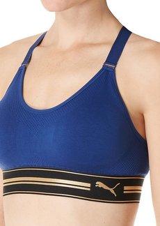 PUMA Women's Women's Seamless Mesh-Back Bra Bra Blue Depths Extra Large