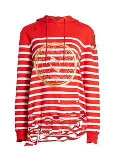 Puma x Balmain Distressed Striped Logo Hoodie