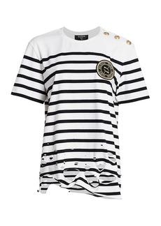 Puma x Balmain Distressed Striped Logo Tee