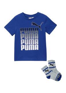 Puma Short Sleeve Graphic T-Shirt & Crew Socks Set (Little Boys)