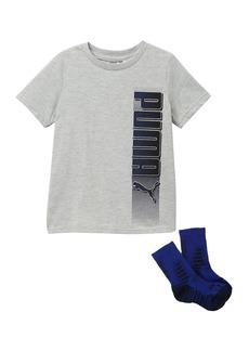 Puma Short Sleeve Graphic T-Shirt & Socks Set (Little Boys)