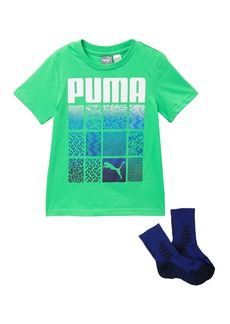Puma Short Sleeves Graphic T-Shirt & Crew Socks Set (Little Boys)