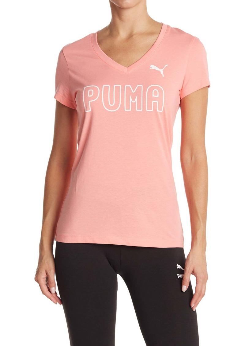Puma Stacked Outline V-Neck Tee