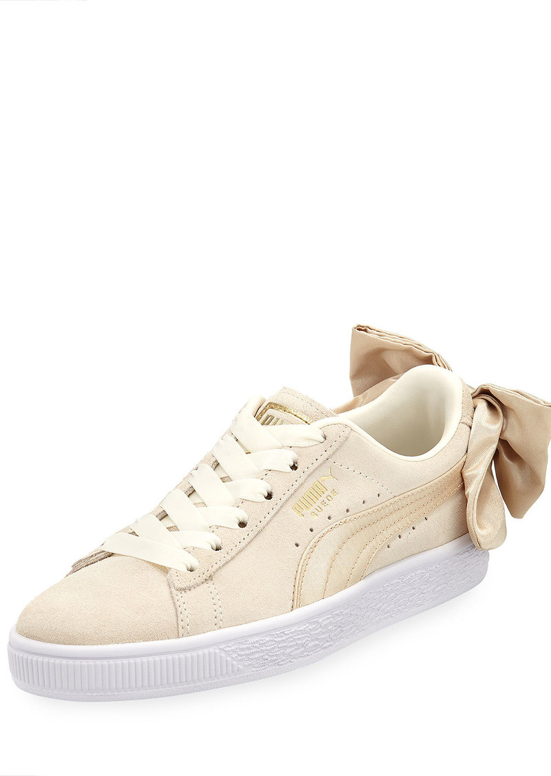 Puma Varsity Suede Low-Top Sneakers with Bow Back  Marshmallow/Gold
