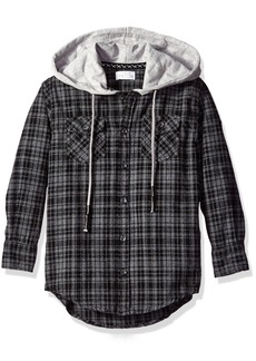 Pumpkin Patch Little Boys' Oversize Hooded Check Shirt